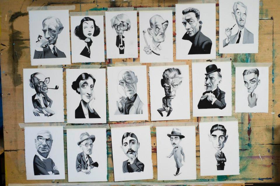 Retratos Originales de Escritores y artistas Fernando Vicente