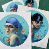La joven del agua y Nadador prints Fernando Vicente